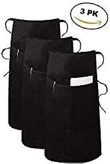 Elaine Karen Deluxe Adult Men's Women's Unisex Waist Long Bistro Bib Apron - BLACK - 3 PK
