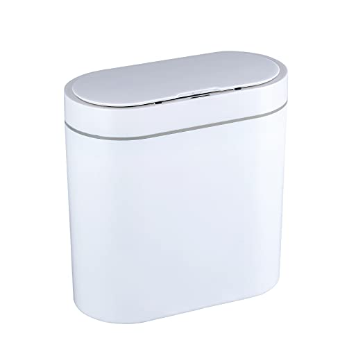 ELPHECO 2.5 Gallon Waterproof Motion Sensor Small Bathroom Trash Can with Lid, Slim Plastic Narrow Bedroom Garbage Can Touchless Trash Can, White