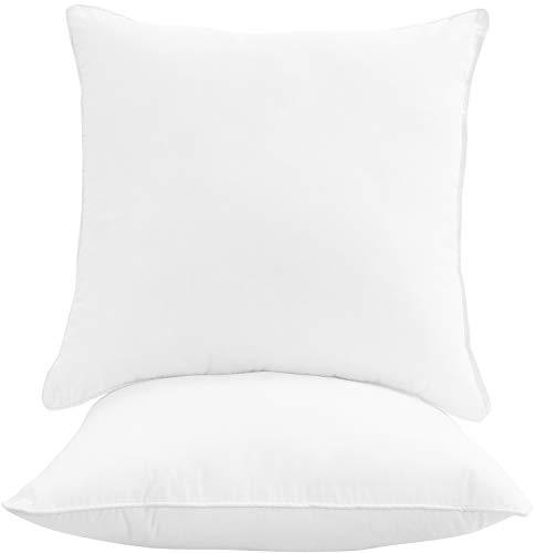 Oakias Juego de 2 almohadas cuadradas – 66 x 66 cm – Juego de almohada ligero, suave y duradero – Almohadas decorativas – Color blanco