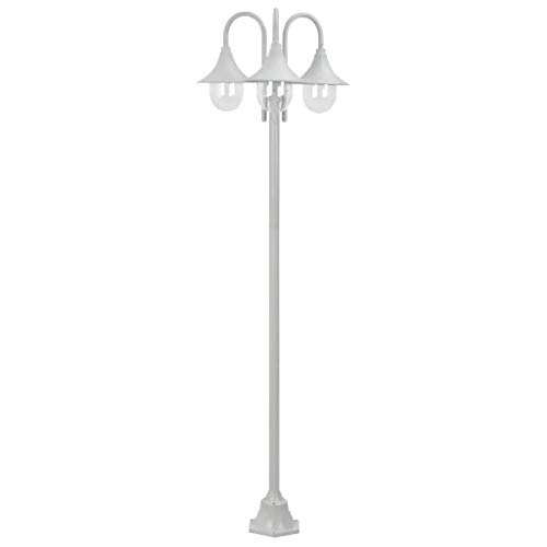 Ausla - Farol de jardín de aluminio, 220 cm, para exteriores, 3 bombillas E27 (bombillas no incluidas), IP44, farola clásica -blanco
