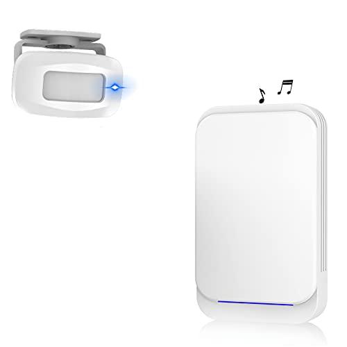 Aktivstar Sensor de Movimiento con Sonido Alarma para entradas/Sensor de Movimiento para Casa y Comercios,Timbre Inalámbrico para Puerta,Alarma de Seguridad,Detector de Presencia Portátil,(Blanco)