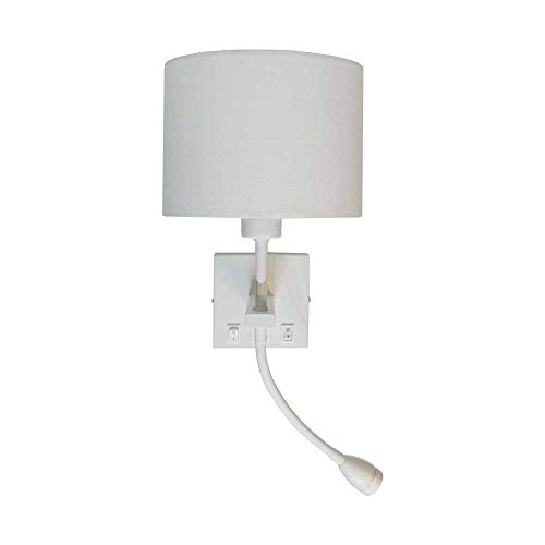 Mooielampen.com - Artdelight - Wandlamp Quad - Wit - Incl. Kap Wit - USB - Flex - LED 3W 2700K - E27 LED 6W 2700K - IP20 > wandlamp binnen | leeslamp | bedlamp | led lamp | usb aansluiting lamp