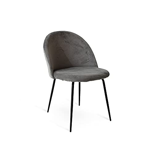 Cribel Tamara - Juego de 2 sillas de terciopelo verde con patas negras para comedor o salón