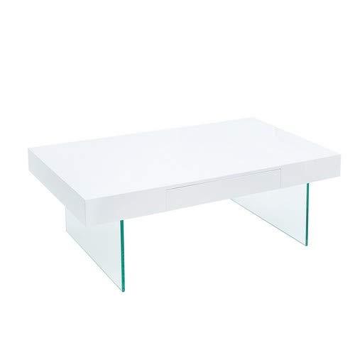 Modern design salontafel Daisy FLOATING 110cm wit hoogglans glas compos