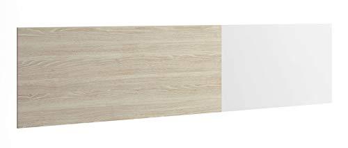Miroytengo Cabezal Kate Cama cabecero suspendido Dormitorio diseño Sobrio Moderno Color Blanco y Sable 209x53 cm