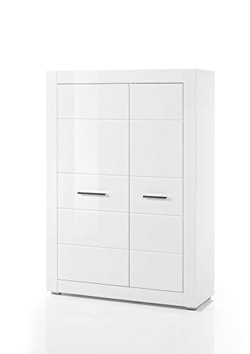 Design-Wohngalerie Highboard Bianco II - Korpus Weiß Mattlack/Front MDF Weiß Hochglanz