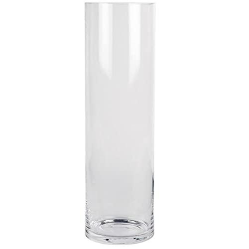 Acan Jarrón de Cristal cilíndrico Decorativo 38,5 x 15 cm, florero Tubular Transparente, Sencillo, Moderno para Decorar el Interior del hogar con Flores, sobremesa, Suelo