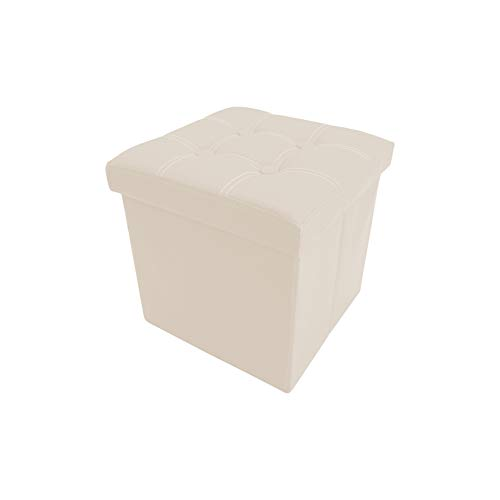 Rebecca Mobili Puf contenedor Beige, taburte cúbico Moderno, reposapiés para Oficina, Muebles para el hogar - Medidas: 30 x 30 x 30 cm (AxANxF) - Art. RE4636