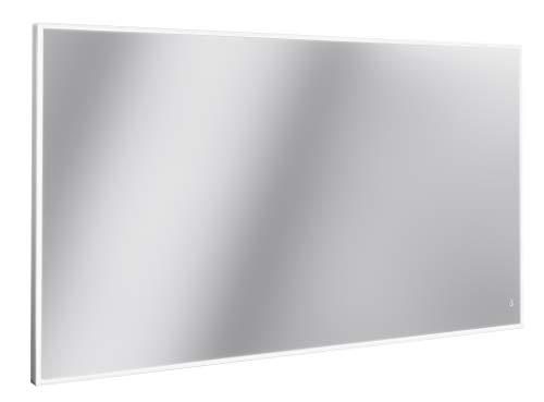Lanzet LED Spiegel LZ150 / Wandspiegel mit LED-Beleuchtung/Maße (B x H x T): ca. 120 x 68 x 3,5 cm/dimmbarer Badspiegel mit Sensorschalter/Aluminium Rahmen/großer Spiegel mit Beleuchtung