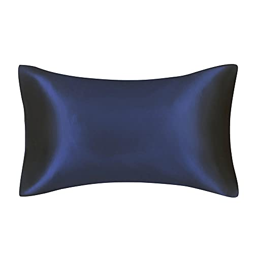 Funda Almohada 1 Unids / 2Pcs Silky Satin Skin Care Funda De Almohada Pelo Anti Almohada Funda Reina King Tamaño Completo Cubierta-Azul Marino_Rey (20X36 Pulgadas)