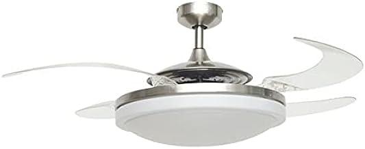 FANAWAY Evo 2 Endure plafondventilator met licht en afstandsbediening, 60 W, geborsteld chroom, 122 cm diameter, ingeklapt...