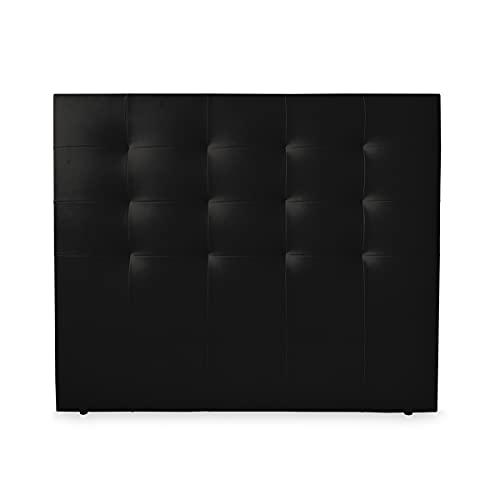 Duérmete Online 160 x 120 cm (Cama de 150) Cabecero París Acolchado | Tapizado en Polipiel de Alta Gama | Medidas, Madera, Negro