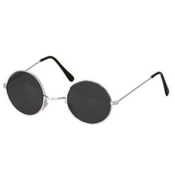 Party-Discount Brille Hippie, runde, Schwarze Gläser, Metall
