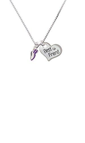 Cheer Bunny Mini Purple Running Shoe - Best Friend Heart Necklace