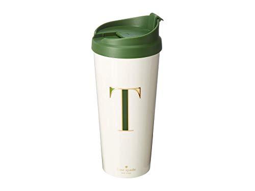 Kate Spade New York Women's Initial Thermal Travel Mug Tumbler, 16 Ounces, T (Green)