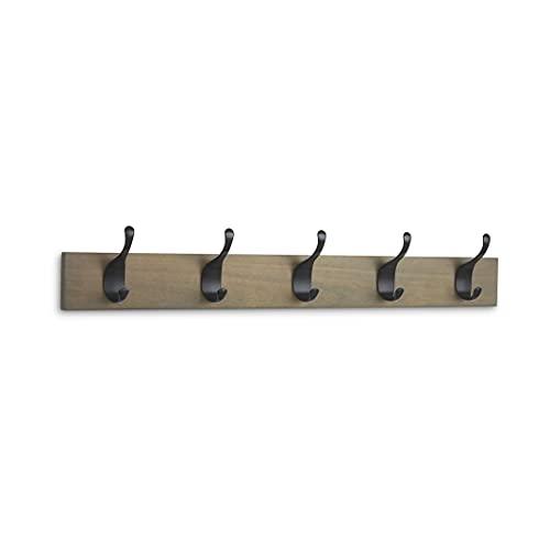 Amazon Basics - Perchero de madera de pared, 5 ganchos modernos 57 cm, Madera noble, 2 unidades