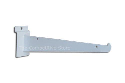 EZ-Mannequins Slatwall Knife Shelf Bracket - Pack of 24-12' Heavy Duty White Shelf Bracket with Lip - Fits All Slat Panels
