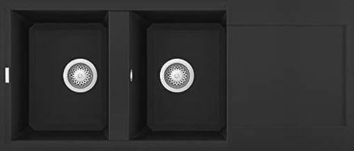 Lavello incasso easy 500 2 vasche con gocciolatoio 116x50 granitek (40 nero full black) elleci LGY50040