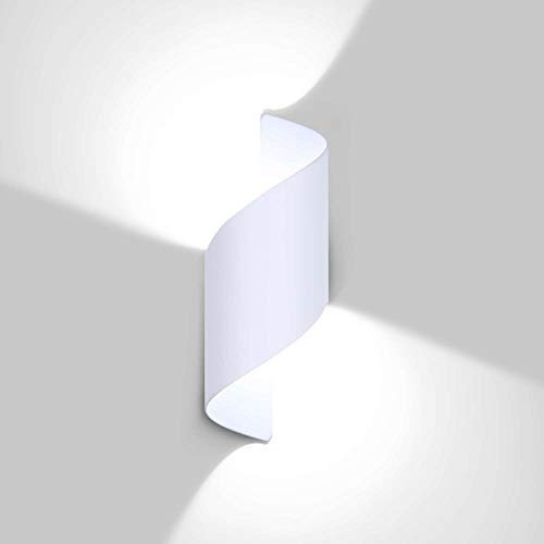 Lightess 12W Apliques Pared Exterior Lámpara de Pared LED Luz Moderna Impermeable IP66 Luz de Aluminio Interior Iluminación para Jardín, Patio, Camino, Escalera, Balcón, Blanco, Blanco Frío 6000K