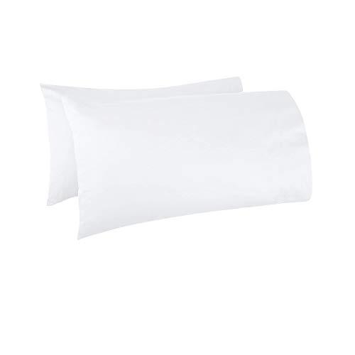 Pizuna - Juego de 2 Fundas de Almohada de algodón de 400 Hilos, Blanco, 100% algodón de Fibra Larga, Suave Tejido de satén, lujosas Fundas de Almohada, 45 x 75