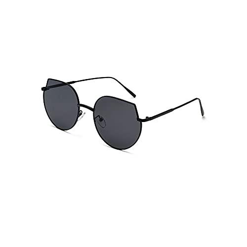FEINENGSHUAI Nstyj Gafas de sol para mujer, marco grande, polarizador de marco de metal, adecuado para mujeres, gafas de sol con bordes redondeados, puede bloquear eficazmente el sol (color: negro)