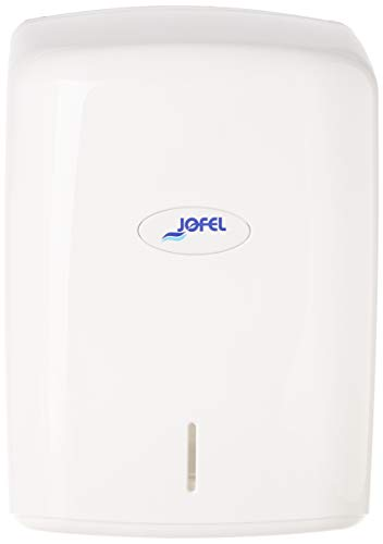 Jofel AG47000 - Dispensador de papel bobina mecha en continuo, bobinas 205 mm diámetro, color blanco