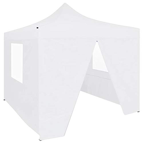 Professional Folding Party Tent with 4 Side Walls Kiosko Garden Gazebo Waterproof UV Protection Gazebo for Celebration in the Garden Patio 2 x 2 m Steel White