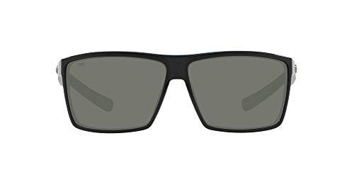 Costa Del Mar Men s Rincon Polarized Rectangular Sunglasses, Shiny Black Grey Polarized-580G, 63 mm