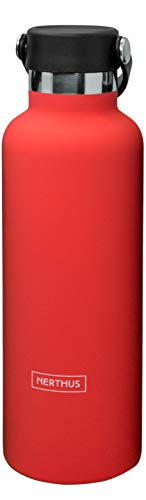 NERTHUS FIH 717 Bottle Thermos Cap Double Wall Handle for Hot and Cold Stainless Steel Design 750 ml BPA Free, 18/8, Coral Garden