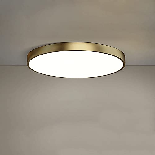 LXIANG Luz de techo empotrada LED ultradelgada de 1.5 pulgadas, material totalmente de cobre, luz de techo ligera de lujo para dormitorio, lámparas de estilo europeo de interior de tres tonos que se u