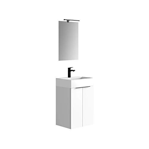 Baikal 280034091, Mueble de baño pequeño con Lavabo cerámico y Espejo con Aplique de luz LED, de Dos Puertas, Acabado en Color Blanco, de fácil montado, Medidas: 45 x 60 x 36 cm