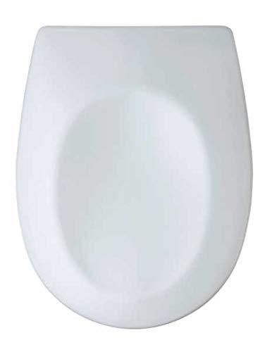 WENKO WC-Sitz Vorno - Antibakterieller WC-Sitz mit Absenkautomatik, Schnellbefestigung, aus stabilem Duroplast, Duroplast, 35 x 46 cm, Weiß