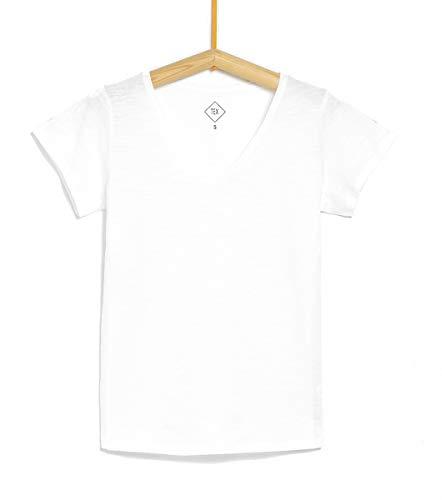 TEX - Camiseta Lisa para Mujer, Blanco Neutro, XXL