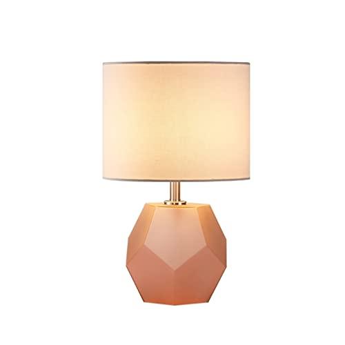 Iluminación Lámpara de mesa con diamante vidrio de noche lámpara de cama lámpara de oficina oval sombra sala de estar dormitorio familia mesita de noche Mesilla Lamparas (Color : Light pink)