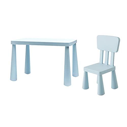 Juego de mesa y silla para niños, mesa y silla de estudio para niños de protección ambiental del hogar, 1 mesa y 1 silla, con almohadilla antideslizante, para leer, comer, juegos/蓝色 / 77x55x48