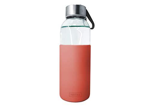 NERTHUS FIH 395 Botella de cristal 400ml, Antideslizante Silicona, color coral 0.4 litros, Vidrio