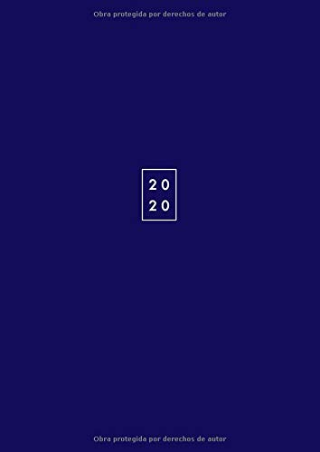 2020: Agenda 2020 dos Paginas por Día - Tamaño A4 21x29.7 cm - Agenda anual 2020 - Color azul