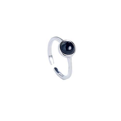 s925 anillo de plata mujer con incrustaciones de ágata negra apertura anillo ajustable anillo de piedras preciosas negras joyería de plata esterlina de todo el cuerpo