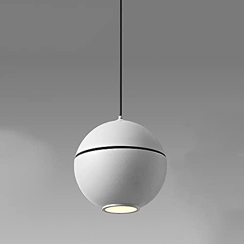 JIANAND Lámpara colgante de techo pequeña de metal moderno Lámpara colgante de pantalla esmerilada en blanco y negro Lámpara colgante LED de montaje semi empotrado Lámpara colgante Kit ajustable Acces