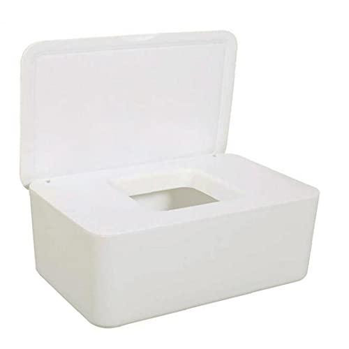 Tuimiyisou Caja de Almacenamiento de Tejido húmedo de Tejido húmedo y dispensador de servilletas Tejido seco, con Tapa, para el Blanco de Oficina en casa