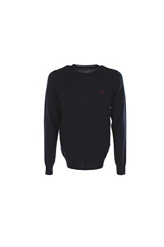 Fred Perry Herren Classic Crew Neck Sweater Pullover, Dark Carbon, X-Groß
