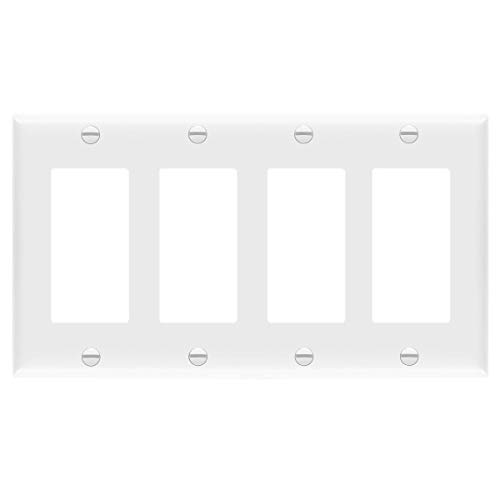 ENERLITES Decorator Light Switch or Receptacle Outlet Wall Plate, Size 4-Gang 4.50' x 8.19', Polycarbonate Thermoplastic, 8834-W, White, Standard Size