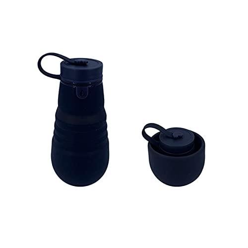 LDH Deporte Botella Agua Plegables 500 Ml, Botella de Agua De Viaje de Silicona A Prueba de Fugas Reutilizables, Botella de Agua Deportiva Al Aire Libre Telescópica Portátil (Color : Negro)