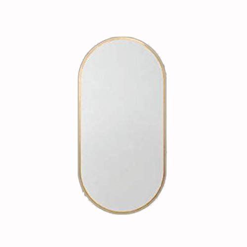 YXB Golden Badkamer Spiegel Iron Frame 40x60cm Gebogen Afgeronde Hoek Ontwerp Dressing Tafel Vanity Spiegel J1/6