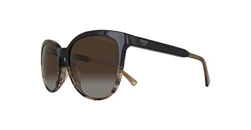 Emporio Armani EA4101F-556713-56 Gafas de sol, Marrón (Brown/Transparente Striped Beige), 56.0 para Mujer