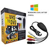 VHS to Digital Converter for Windows 10, USB2.0 Video Audio Capture Card Grabber Device, VHS to DVD Converter Support Windows 10/8/7/XP/VISTA/Convert Analog Video to Digital Format