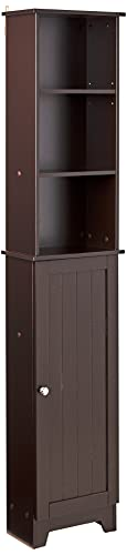 Redmon Contemporary Country Tall Floor Shelf with Lower Cabinet, One Size, Espresso