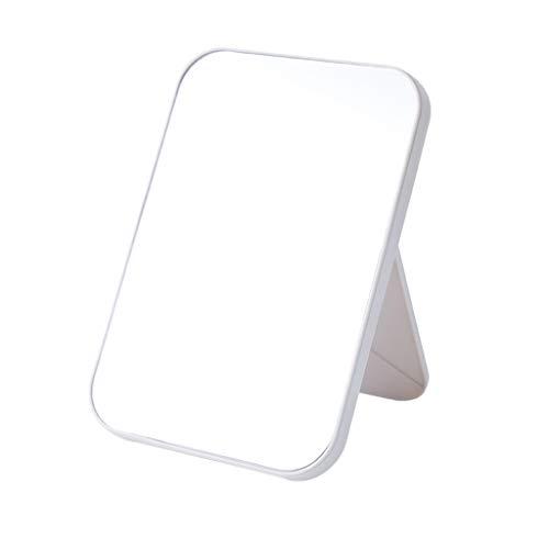 Espejo de mesa plegable para maquillaje, diseño de espejo de pared, sin marco, vinilo cuadrilátero, desmontable (beige)