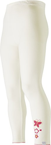 Playshoes Mädchen, Schmetterlinge, Rüschenkante, Oeko-Tex Standard 100 Legging, Weiß (weiß 1), (Herstellergröße: 98)