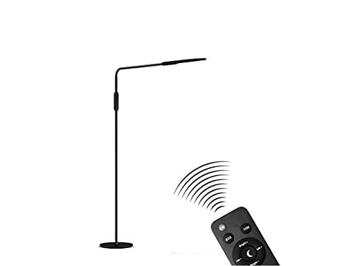 JZRHMJHW Lampada da Scrivania LED, Lampada da Terra Intelligente per la Protezione degli Occhi con Telecomando per la Lettura della Lampada da Terra in Soggiorno, Camera da Letto, Studio (Nero)